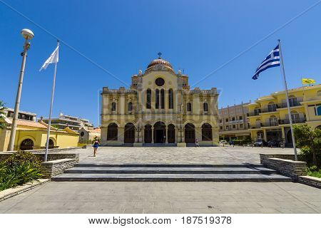 HERAKLION GREECE - JULY 09 2016: Crete. Agios Minas Cathedral - Greek Orthodox Church. The residence of Archbishop of Crete.