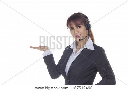 Call center woman smiling business woman customer Service Agent with headset isolated on a white background. Customer Service Agent are showing open hand palm during a telephone conversation.