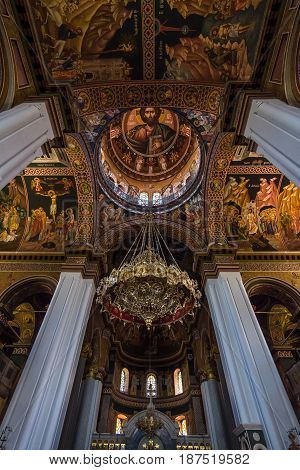 HERAKLION GREECE - JULY 09 2016: Crete. Interior of Agios Minas Cathedral - Greek Orthodox Church. The residence of Archbishop of Crete.