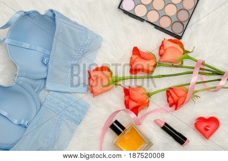 Blue Bodice With Lace, Inside View. White Fur, Orange Roses And Cosmetics. Fashionable Concept. Top