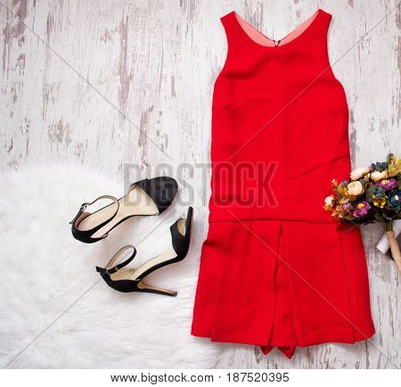 Red Dress, Black Shoes And Bouquet. Imitation Fur On A Wooden Background, Fashionable Concept, Top V