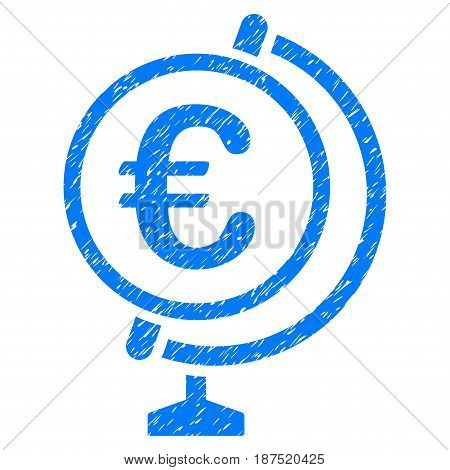 Grunge Euro Globe icon with grunge design and unclean texture. Unclean vector blue pictogram for rubber seal stamp imitations and watermarks. Draft sign symbol.