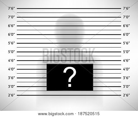 Police lineup or mugshot template with anonymous shadow. Vector illustration