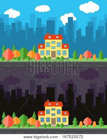 Vector city with cartoon house in the day and night.Summer urban landscape. Street view with cityscape on a background