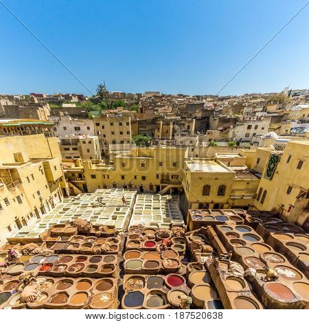 FEZ, MOROCCO - APRIL 6,2017 - Chouwara Tannery in the old medina of Fez. Fez city has been called the