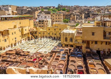 FEZ ,MOROCCO - APRIL 6,2017 - Chouwara Tannery in the old medina of Fez. Fez city has been called the