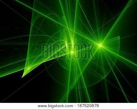 Green glowing spiral trajectories in space futuristic technology computer generated abstract background 3D rendering