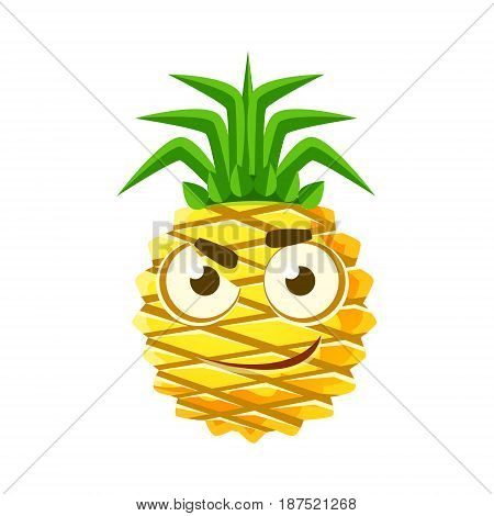 Pensive pineapple face. Cute cartoon emoji character vector Illustration isolated on a white background