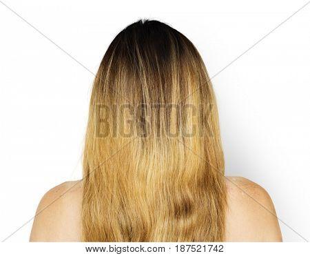 Woman back side portrait studio shoot