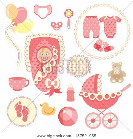 Newborn baby girl clip art with cute icons. Vector collection