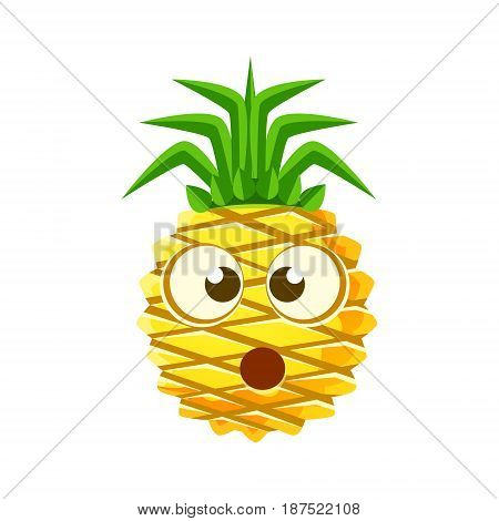 Puzzled pineapple face. Cute cartoon emoji character vector Illustration isolated on a white background