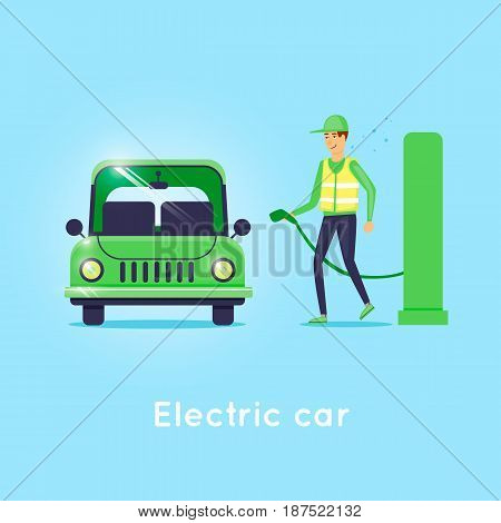 Electro auto charging. Flat design vector illustration. poster