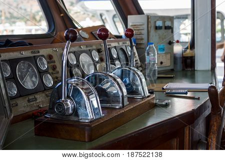 CRETE GREECE - JULY 11 2016: Captain's cabin of pleasure ship.