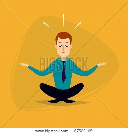 Businessman doing choose or yoga. Vector flat illustration