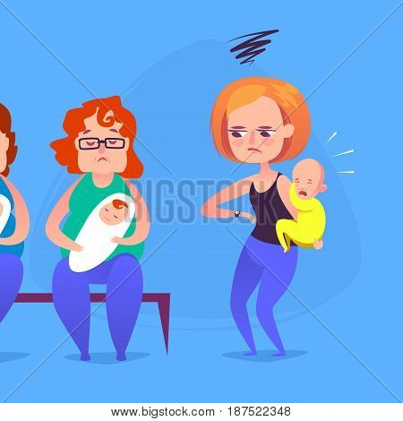 Sad angry mother with a crying child in a queue. Vector illustration.