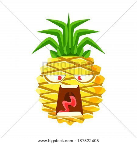 Screaming pineapple emoticon. Cute cartoon emoji character vector Illustration isolated on a white background