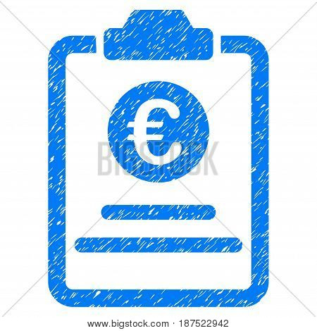 Grunge Euro Prices Pad icon with grunge design and dust texture. Unclean vector blue pictogram for rubber seal stamp imitations and watermarks. Draft emblem symbol.