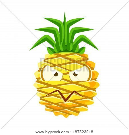 Suspicious pineapple face. Cute cartoon emoji character vector Illustration isolated on a white background