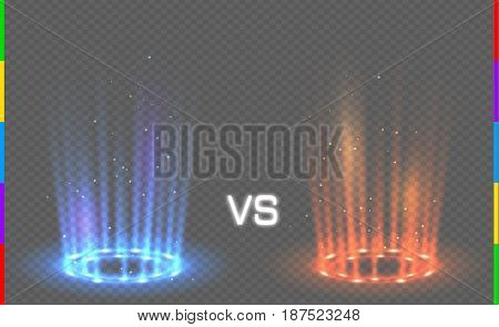 Versus round blue and red glow rays night scene with sparks on transparent background. Light effect podium. Disco club dance floor. Beam stage. Magic fantasy portal. Futuristic hot and cold teleport.