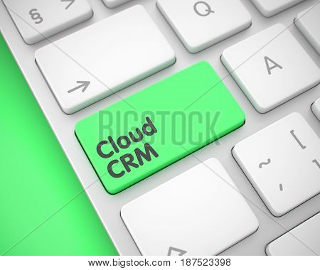 Service Concept: Cloud CRM on the Modern Keyboard lying on the Green Background. Laptop Keyboard Key Showing the MessageCloud CRM. Message on Keyboard Green Button. 3D Render.