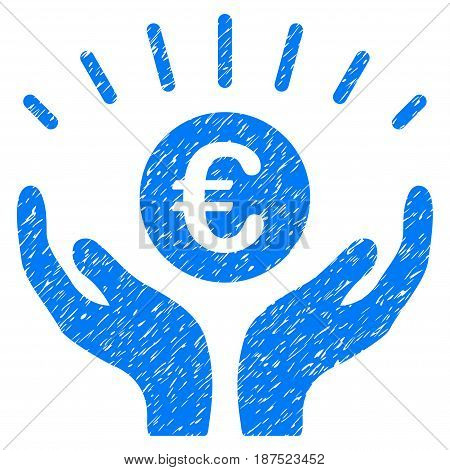 Grunge Euro Prosperity icon with grunge design and dust texture. Unclean vector blue pictogram for rubber seal stamp imitations and watermarks. Draft sticker symbol.