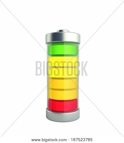 Battery Charging Battery Charge Level Indicators On Green 3D Illustration On White No Shadow