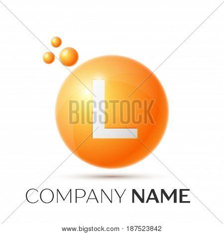 L Letter splash logo. Orange dots and circle bubble letter design on grey background. Vector Illustration