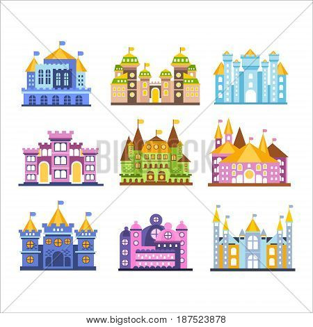 Colorful castles and mansions set. Collection of medieval buildings vector Illustrations isolated on a white background