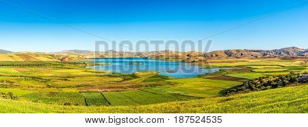 Panoramic view at the Barrage Sidi Chahed lake in Morocco