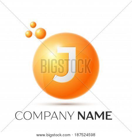 J Letter splash logo. Orange dots and circle bubble letter design on grey background. Vector Illustration