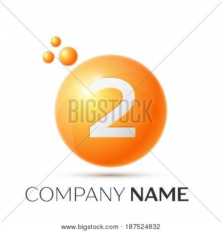 Number two splash logo. Orange dots and bubbles number design on grey background. Vector Illustration