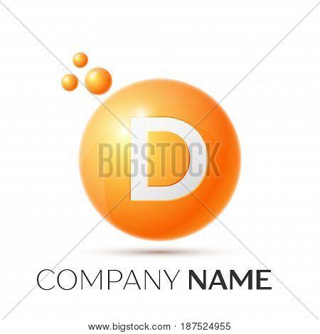 D Letter splash logo. Orange dots and circle bubble letter design on grey background. Vector Illustration