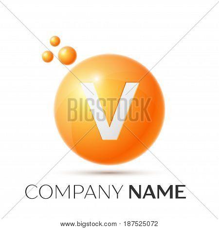 V Letter splash logo. Orange dots and circle bubble letter design on grey background. Vector Illustration
