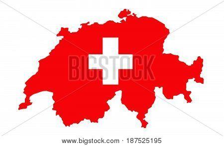 Switzerland Map Flag vector illustration on white
