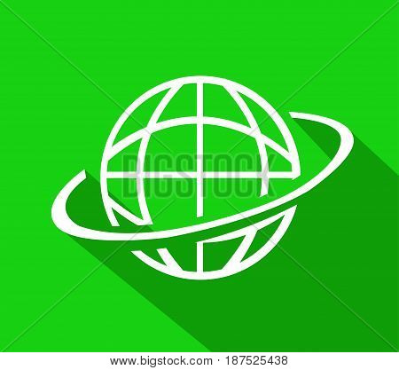 White world globe illustration on green background