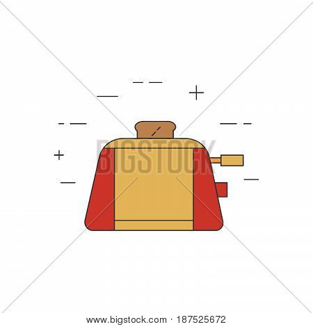 Toaster Isolated Line Icon. Kitchen Small Appliances.