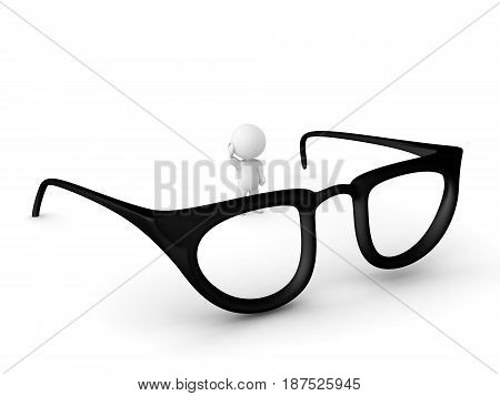 3D Character standing next to giant pair of glasses. The glasses are big.