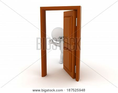 3D Character waving from behind a half opened door. The character is cute.