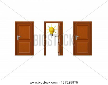 0439 3D illustration of three doors with one being open and has a lightbulb. Image can convey the concept of innovation.