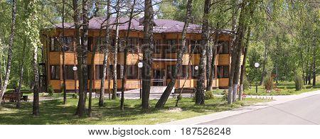 Slutsk, Belarus - May 20, 2017: A Wooden House In The Health Resort Of Sluch.