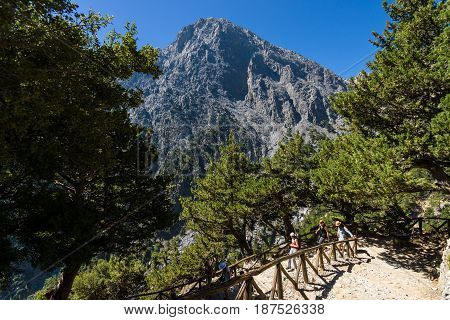 CRETE GREECE - JULY 14 2016: Samaria Gorge - a major tourist attraction of the island.