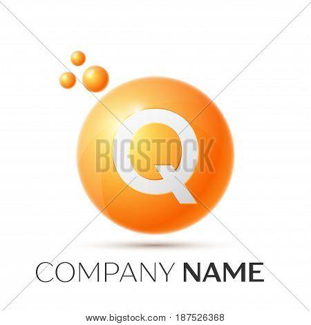 Q Letter splash logo. Orange dots and circle bubble letter design on grey background. Vector Illustration