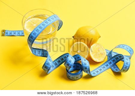 Blue Measuring Tape, Lemon With Freshly Squeezed Glass Of Citrus