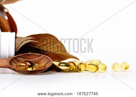 Fish Oil Capsule With Omega 3, Vitamin D In Spoon