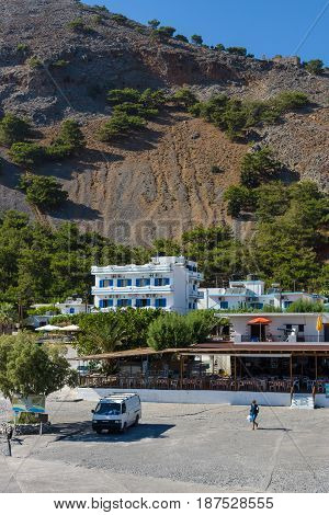 CRETE GREECE - JULY 14 2016: Agia Roumeli village Chania region of Crete. Agia Roumeli is accessible only by foot or by sea (ferry).