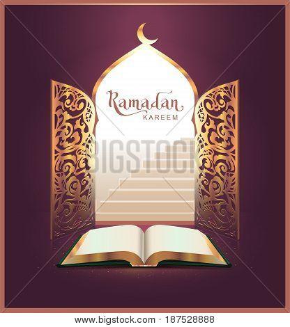 Ramadan Kareem lettering text and open book, door. Vector illustration