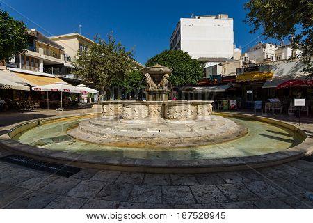 HERAKLION GREECE - JULY 16 2016: Crete. The Morosini Fountain known as