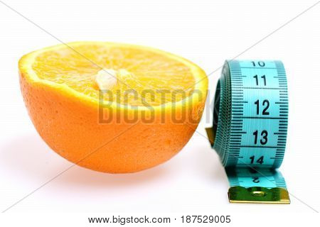 Orange Slice With Tape Measure, Fight Against Excess Weight Concept