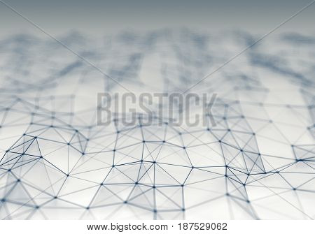 Abstract polygonal light space low poly background. Connecting dots and lines in triangles structure. Illustration for branding science graphic design. Network crystal cell.
