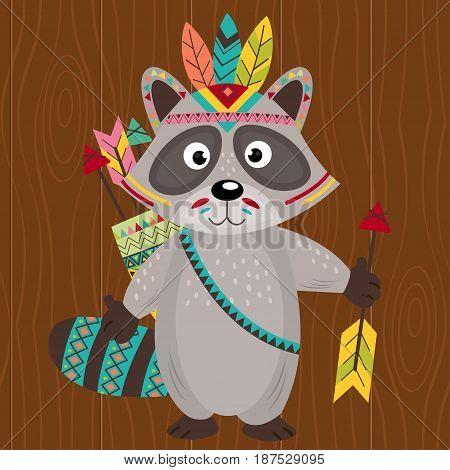 tribal raccoon on wooden background - vector illustration, eps